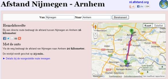 Afstand Nijmegen - Arnhem 2012-12-06 21-17-19