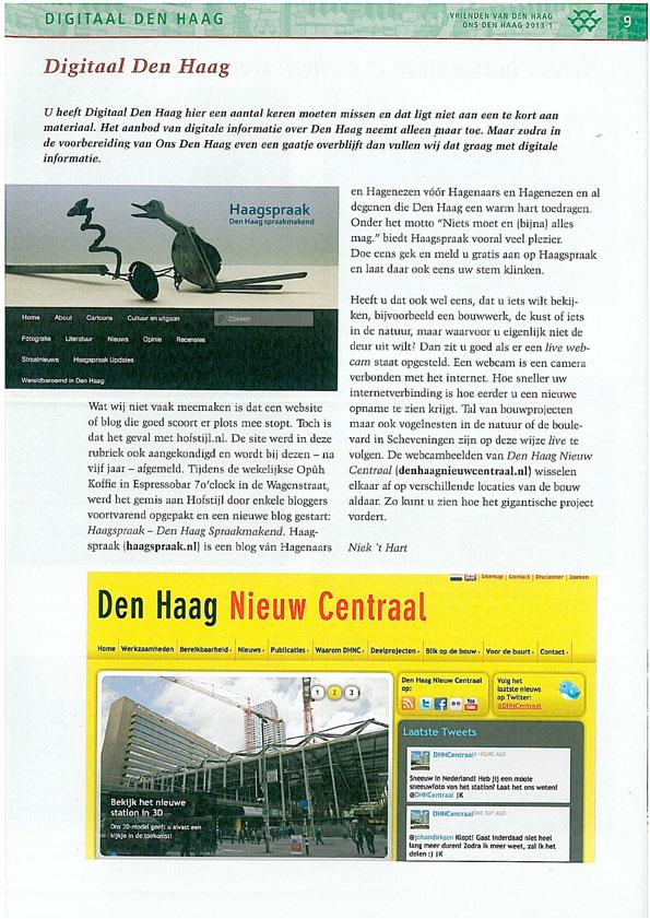 Haagspraak in Vrienden van Den Haag blad