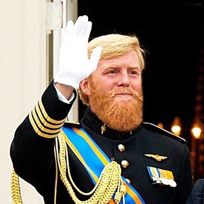 Willem-Alexander met Baard in Marine Blauw