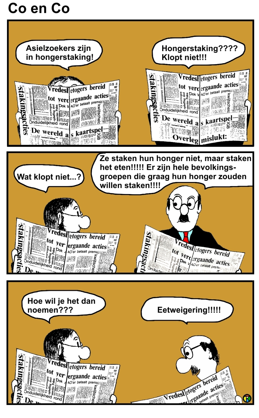 CartoonCo en Co, cartoon, Hongerstaking,Eetweigering