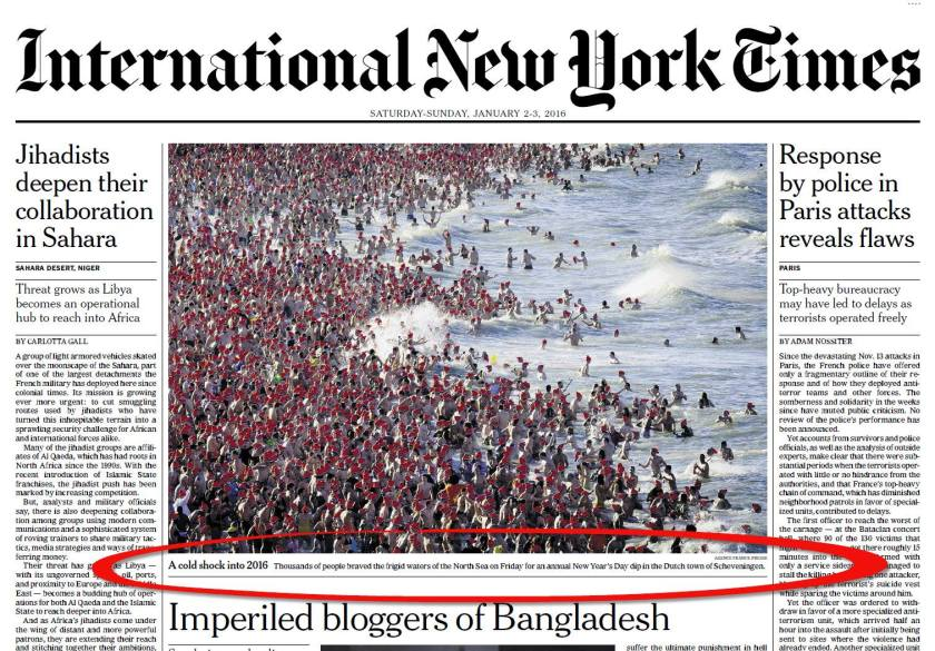 Nieuwjaarsduik in International New York Times